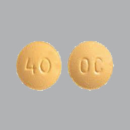 40 OC Yellow round tablets